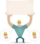 Vector illustration – Foreman holding a blank sign for your message.