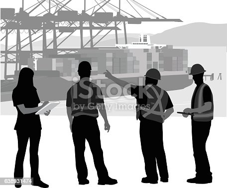 A vector silhouette illustration of a construction crew giving a direction to a young woman writing on a clipboard.  The three construction crew men wear hard hats and safety vests.  In the background is a cargo ship carrying shipping containers moured at a shippign dock.