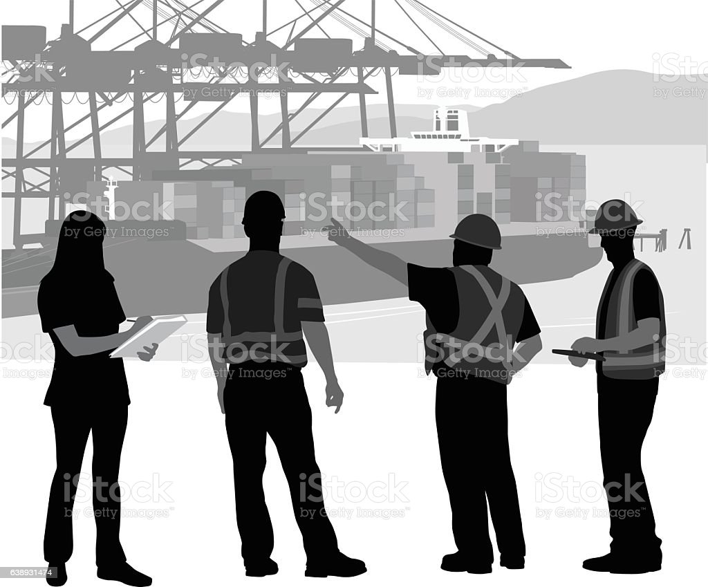 Foreman Instructing The Workers At The Port vector art illustration