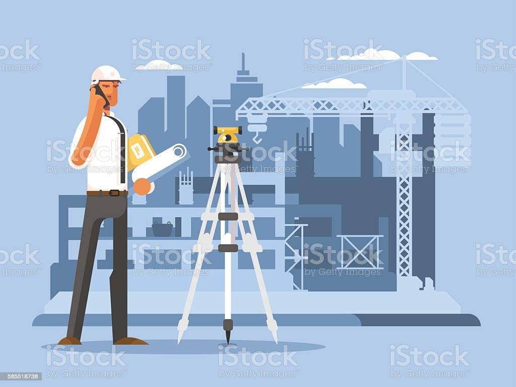 Foreman on construction flat design vector art illustration