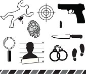 Crime symbols. Aics3 and Hi-res jpg files are included.