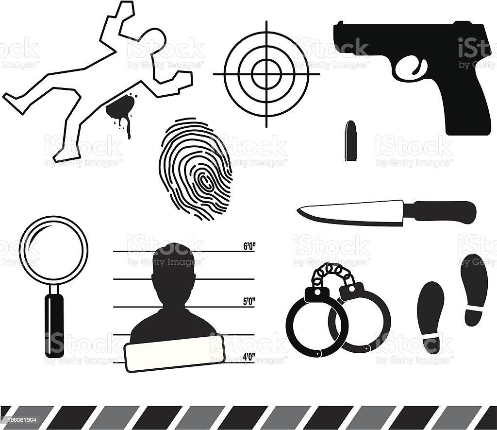 Forensic symbols vector art illustration