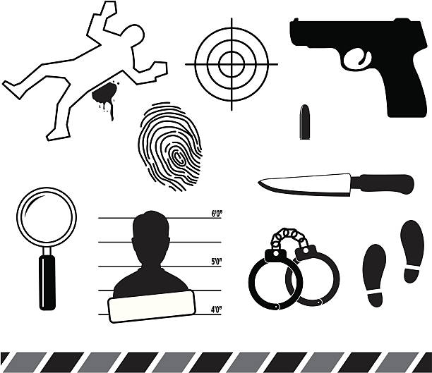 Forensic symbols Crime symbols. Aics3 and Hi-res jpg files are included. crime scene stock illustrations
