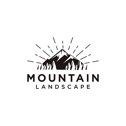 Forest and mountain landscape logo icon