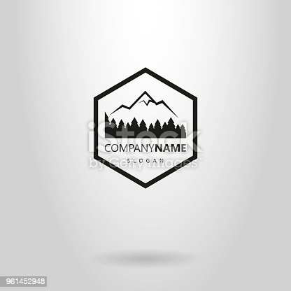 forest and mountain black and white simple flat logo in a hexagon frame