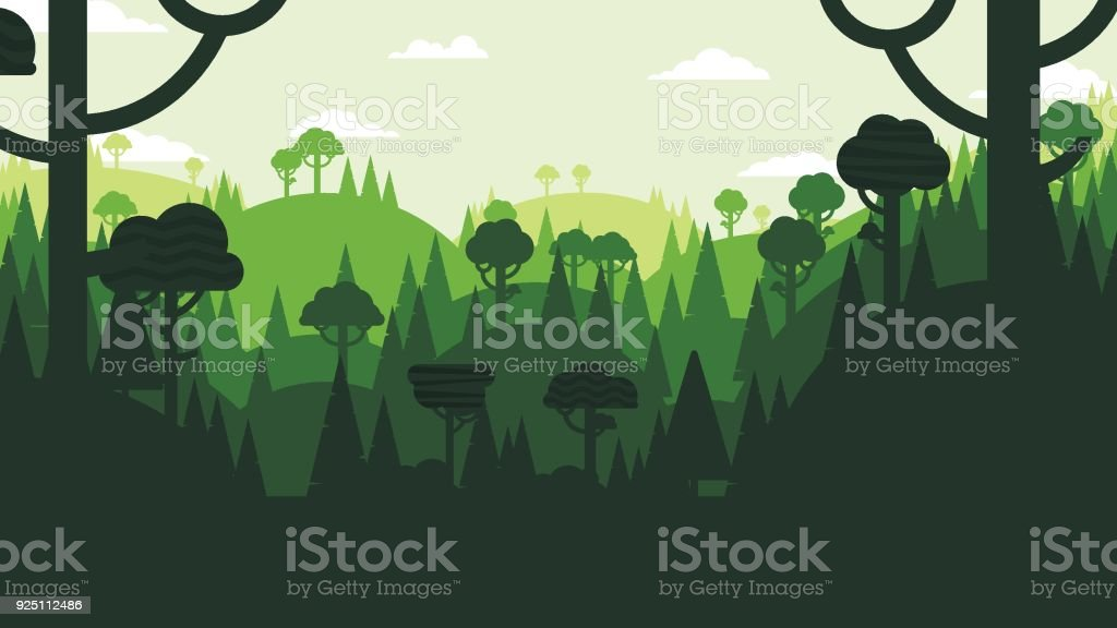 Forest and mountains flat design vector art illustration