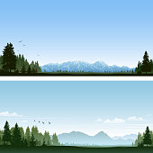 Nature backgrounds with evergreen forest and mountains. File is layered and global colors used. Hi-res JPG included. Please take a look at other work of mine linked below.