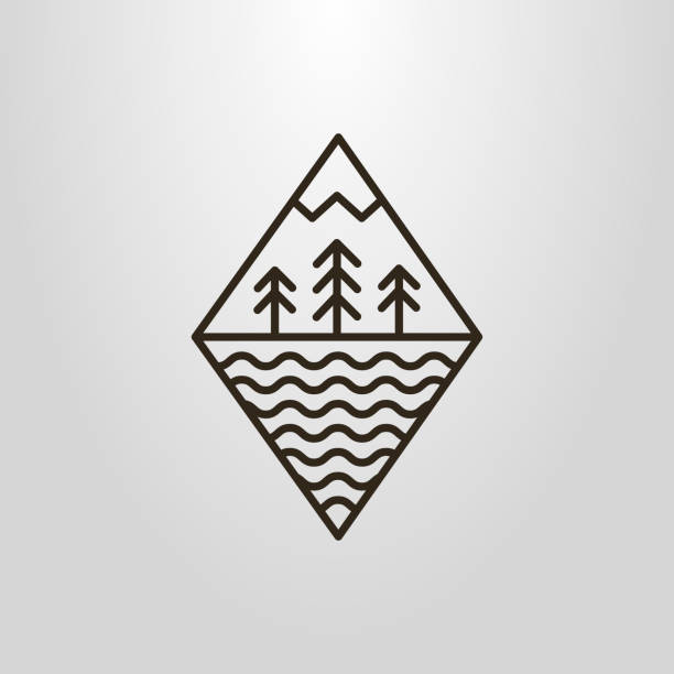 forest and moutain icon Black and white forest and moutain icon adventure icons stock illustrations