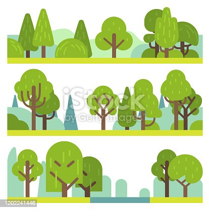 Forest and park plants. Flat different trees, bushes and grass. Woodland and park elements, trendy natural simple minimal landscape panorama vector objects