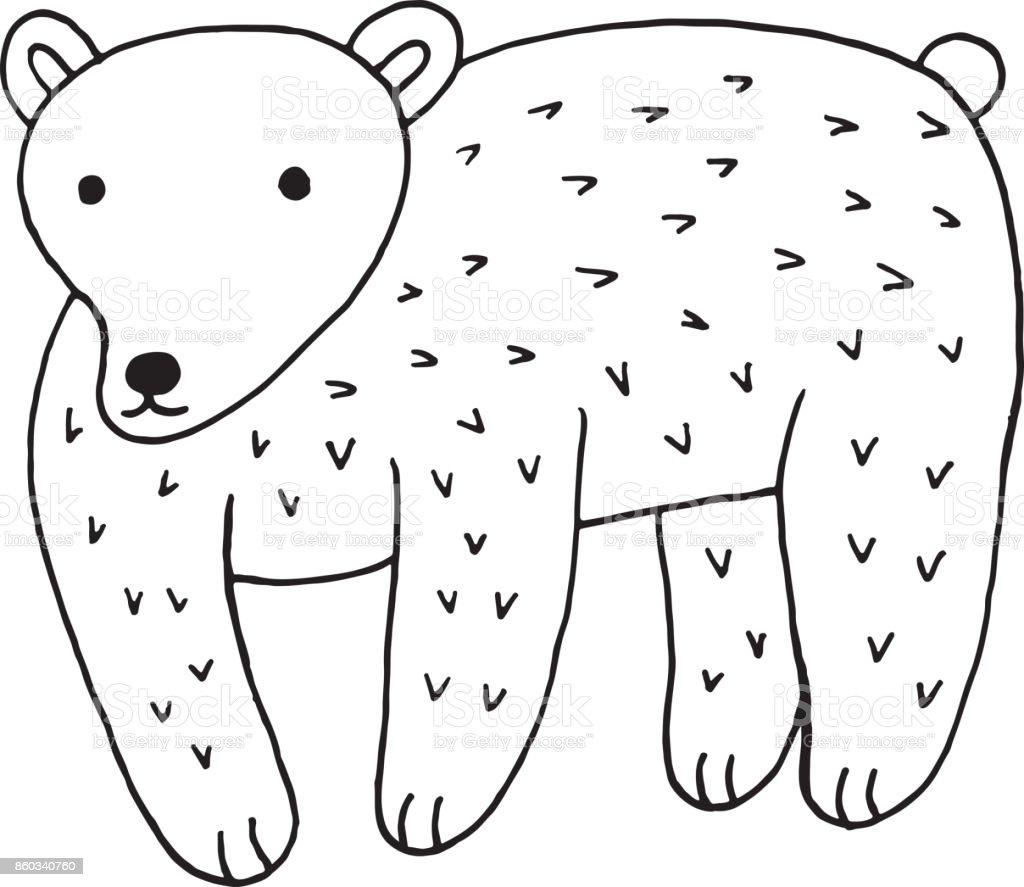 Wald Tiere Bär Doodle Cartoon Einfache Darstellung Kinder Zeichnen