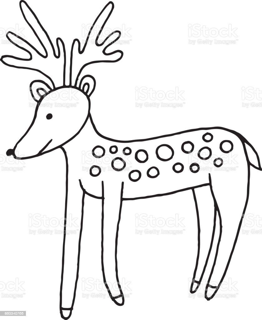 Wald Tiere Hirsch Doodle Cartoon Einfache Darstellung Kinder