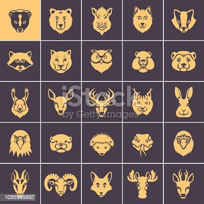 Woodland Animal Faces Icon Set