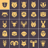 Woodland Animal Faces Icon Set