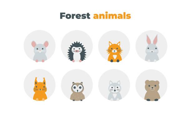 forest animals flat icons vector art illustration