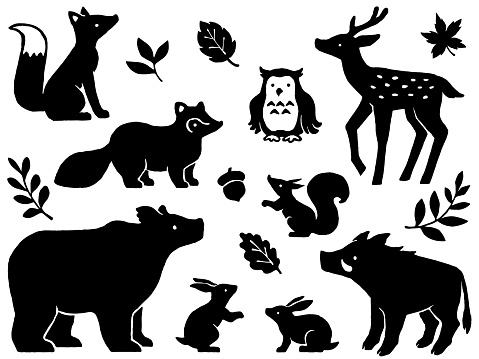 Forest animals hand drawn style silhouette illustration set