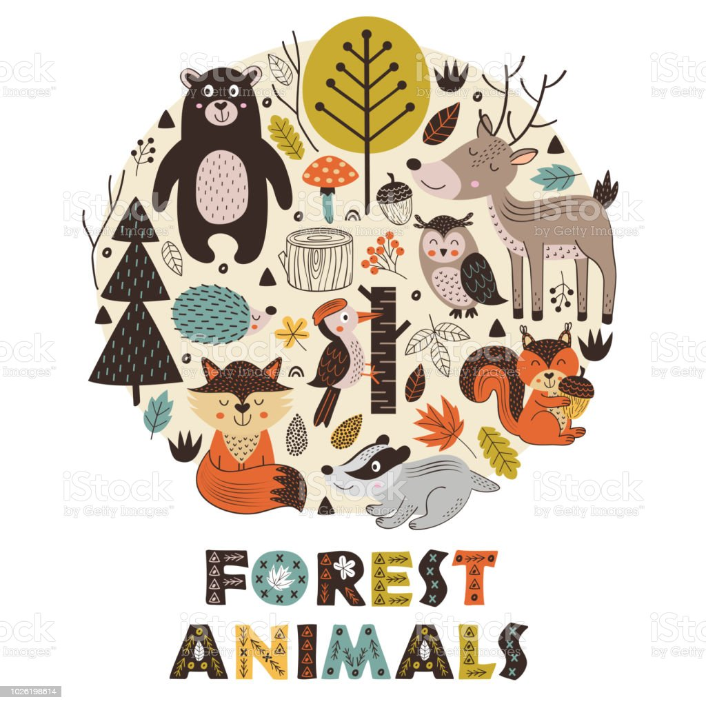 forest animals in circle Scandinavian style royalty-free forest animals in circle scandinavian style stock illustration - download image now