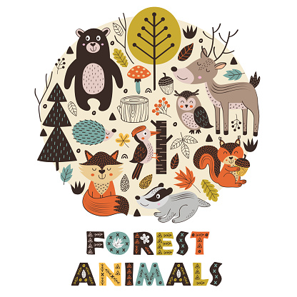 forest animals in circle Scandinavian style