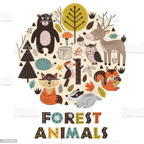 Forest animals in circle scandinavian style vector id1026198614?b=1&k=6&m=1026198614&s=612x612&h=3p8wni7tgq9ijhdgjk2waboezp 0hban0xsf4k3j76w=