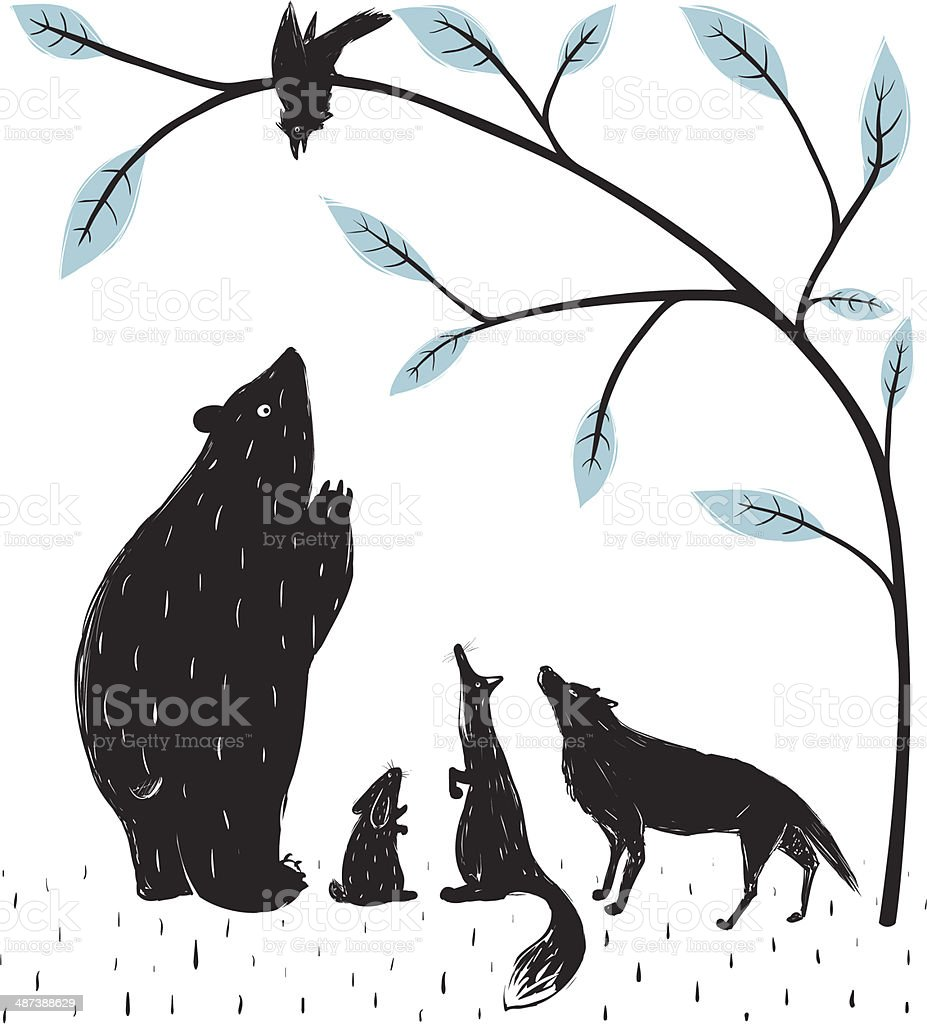Forest Animals News Meeting vector art illustration