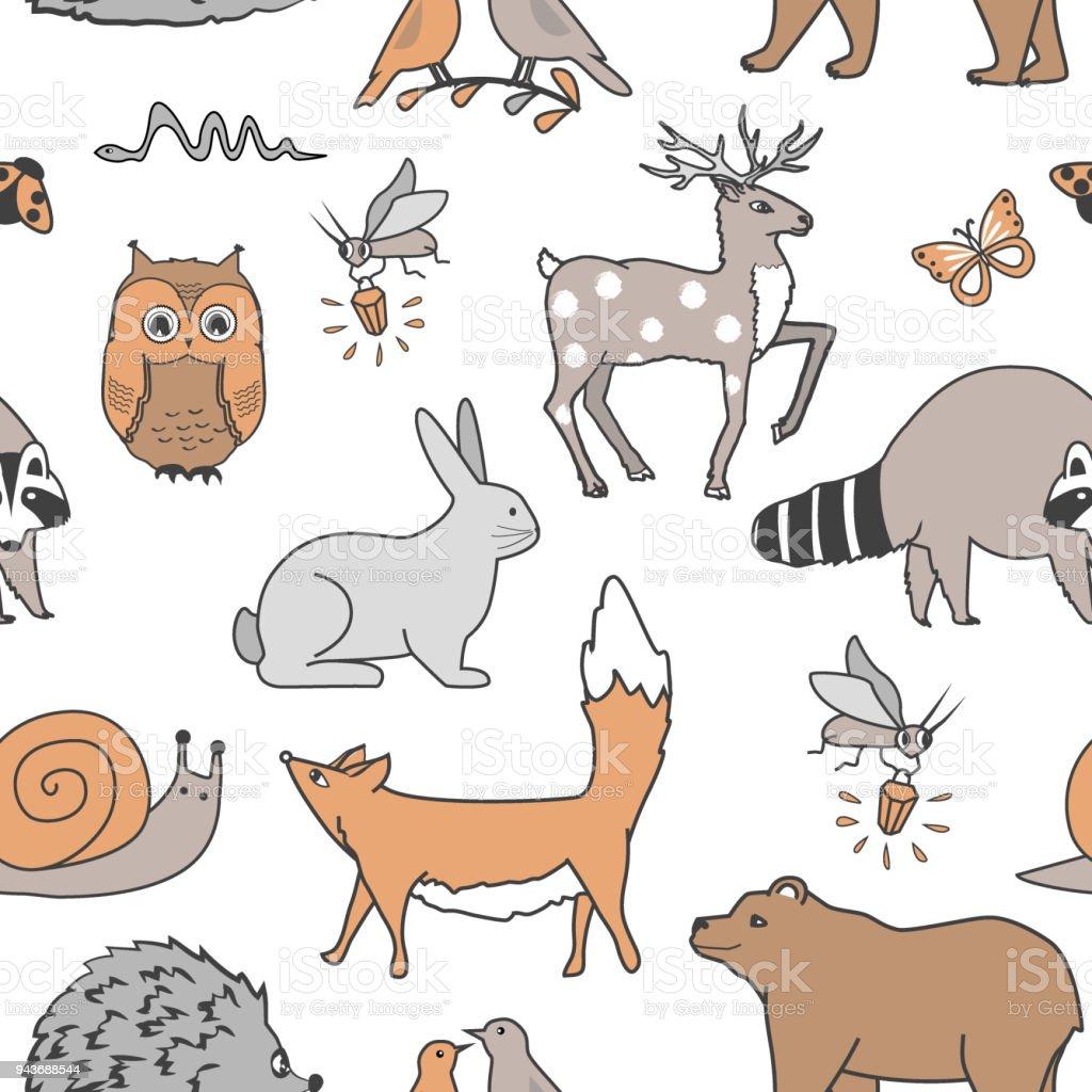 Ilustración de Selva Animales De Patrones Sin Fisuras Zorro Oso ...