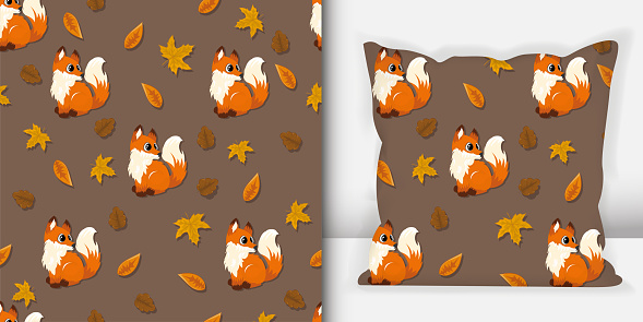 Forest animals seamless pattern. Wolf pattern with pillow mock up