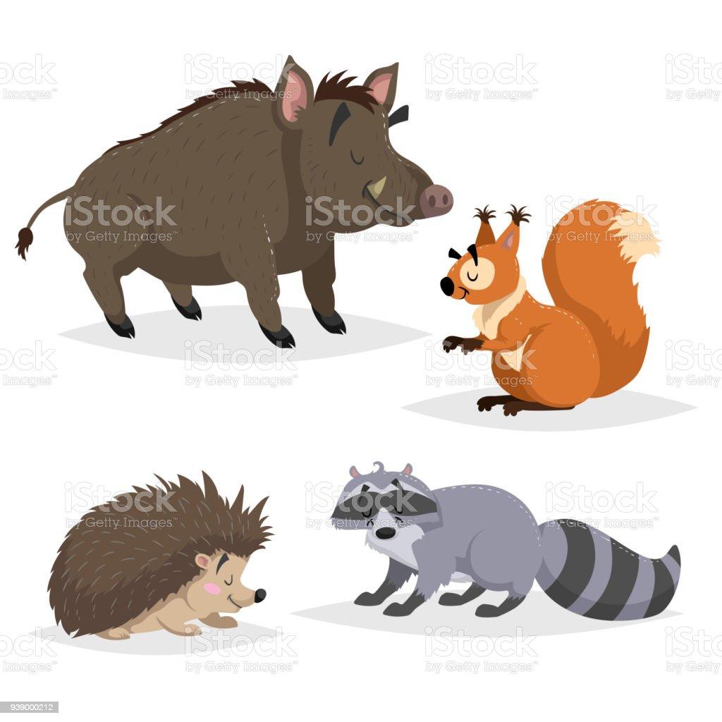 森の動物を設定しますアライグマハリネズミリスイノシシ幸せな笑顔と陽気
