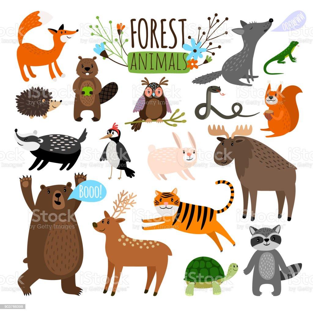 Bosque de animales - ilustración de arte vectorial