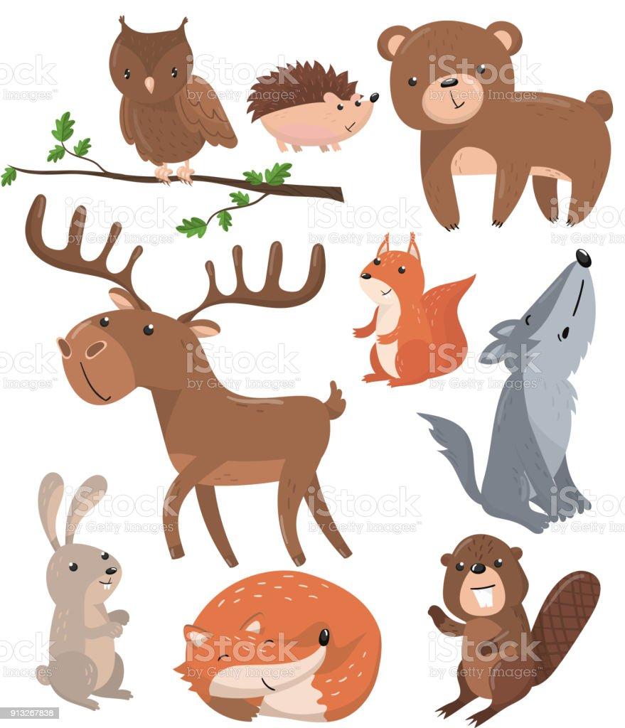 森の動物セット森のかわいい動物フクロウ鳥クマハリネズミ鹿リスオオカミ