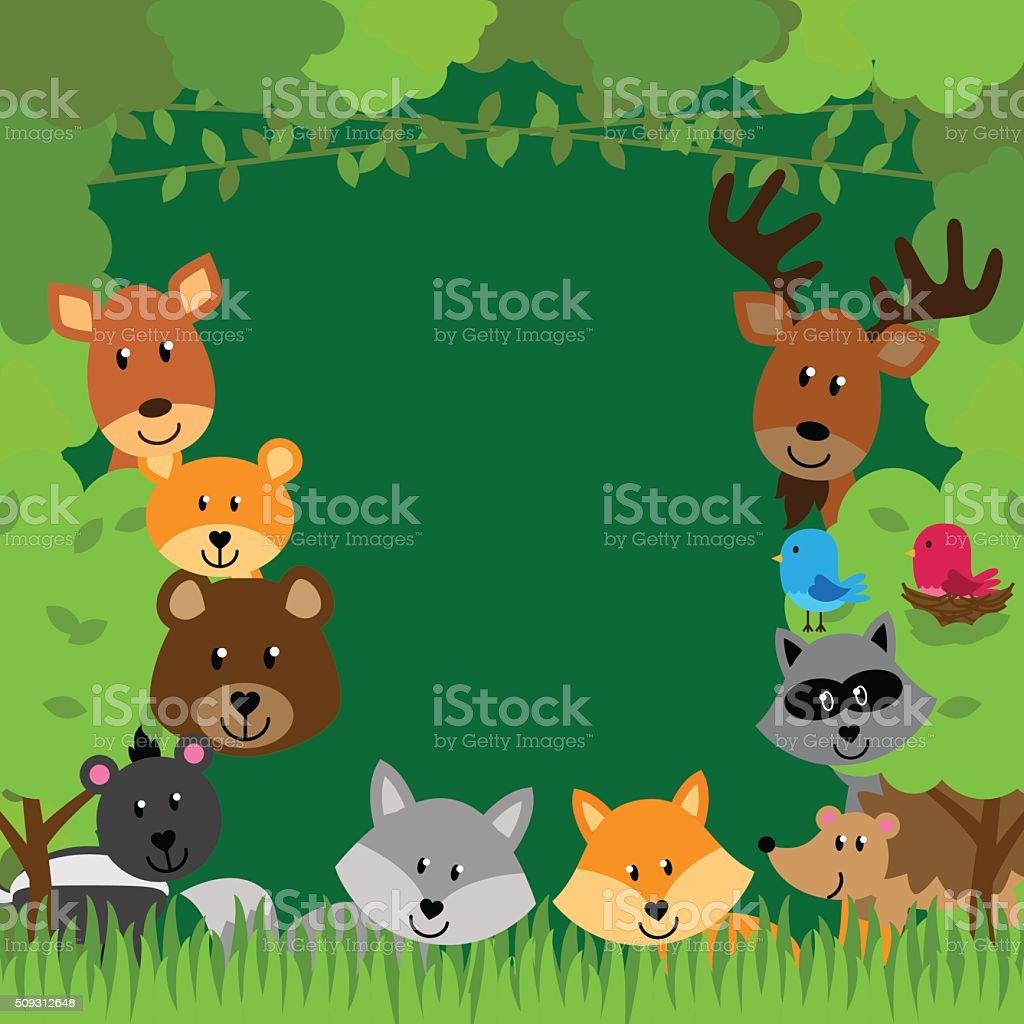 Forest Animals Vector Background vector art illustration