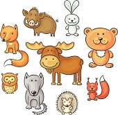 A set of cartoon forest animals, no gradients.