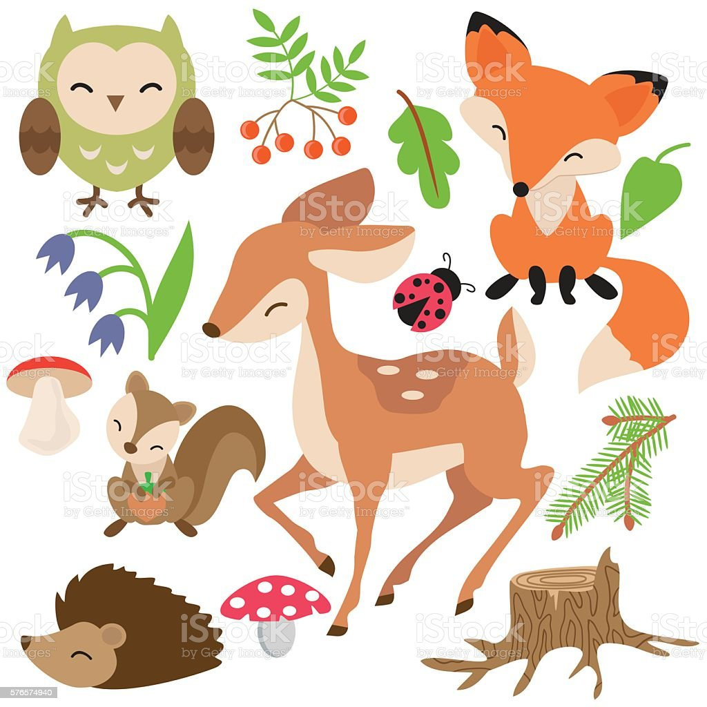 Forest animals vector illustration royalty-free forest animals vector illustration stock illustration - download image now