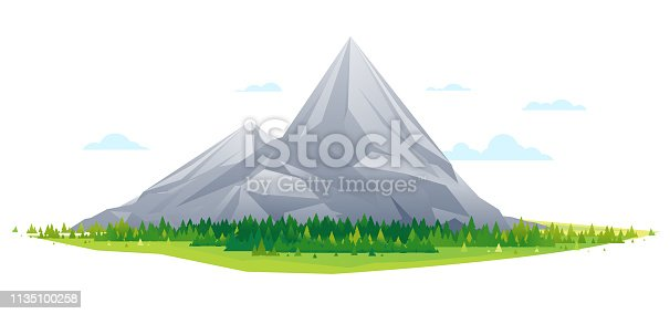 High mountain with spruce forest in simple geometric form, nature tourism landscape illustration isolated