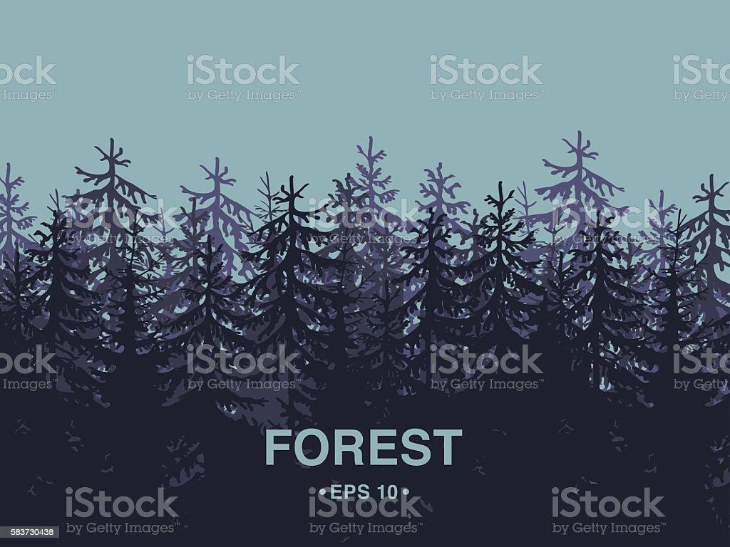 Forest background rectangle composition vector art illustration