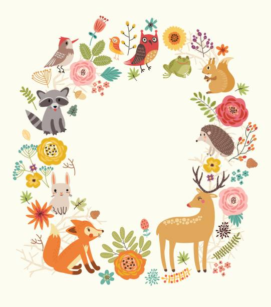 Forest background with animals Forest background frame with animals woodland stock illustrations