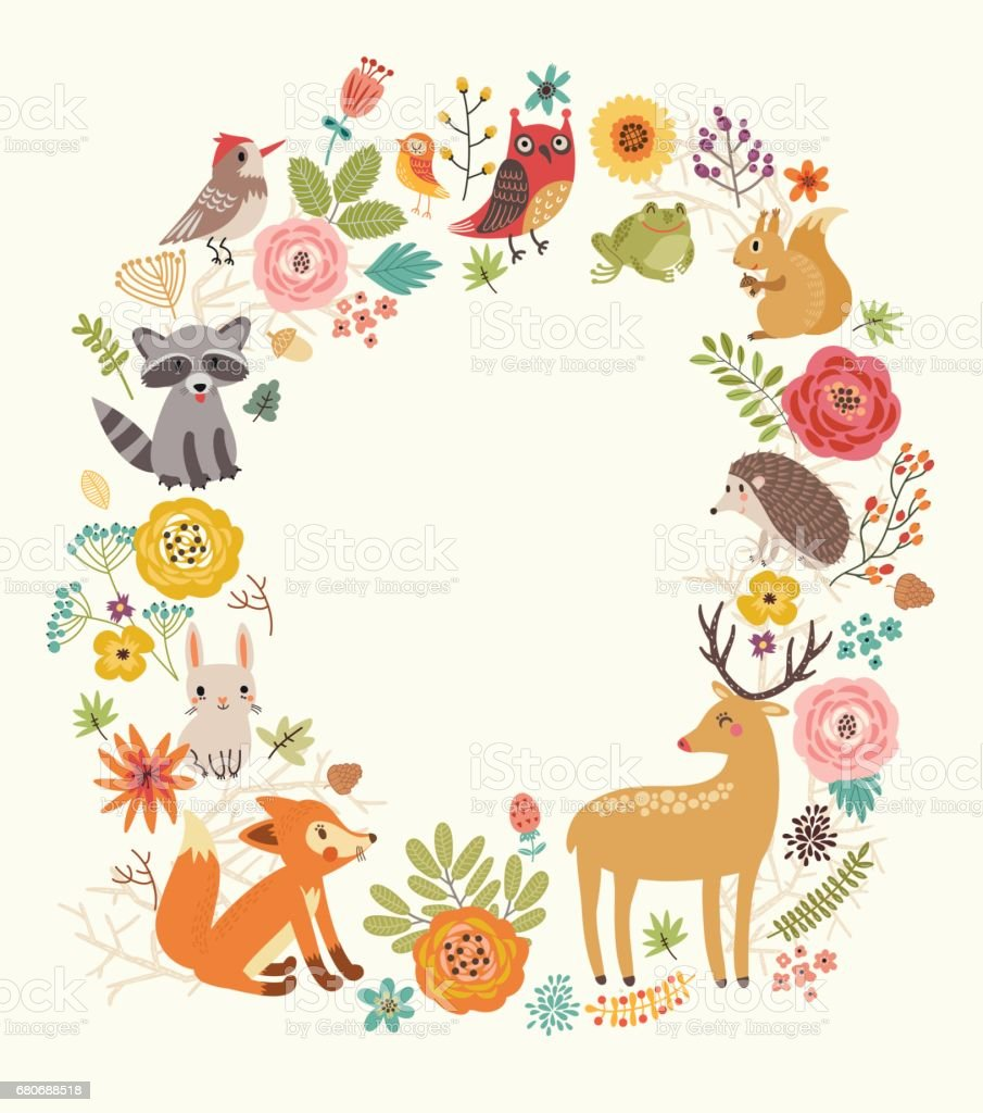 Forest background with animals vector art illustration