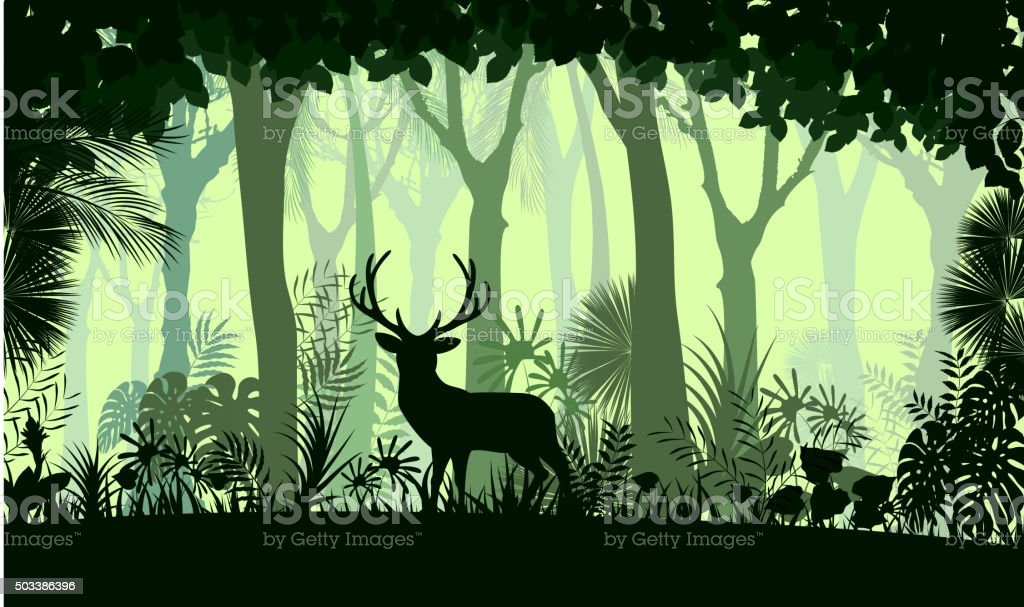 Forest background with wild deer of trees. Vector vector art illustration