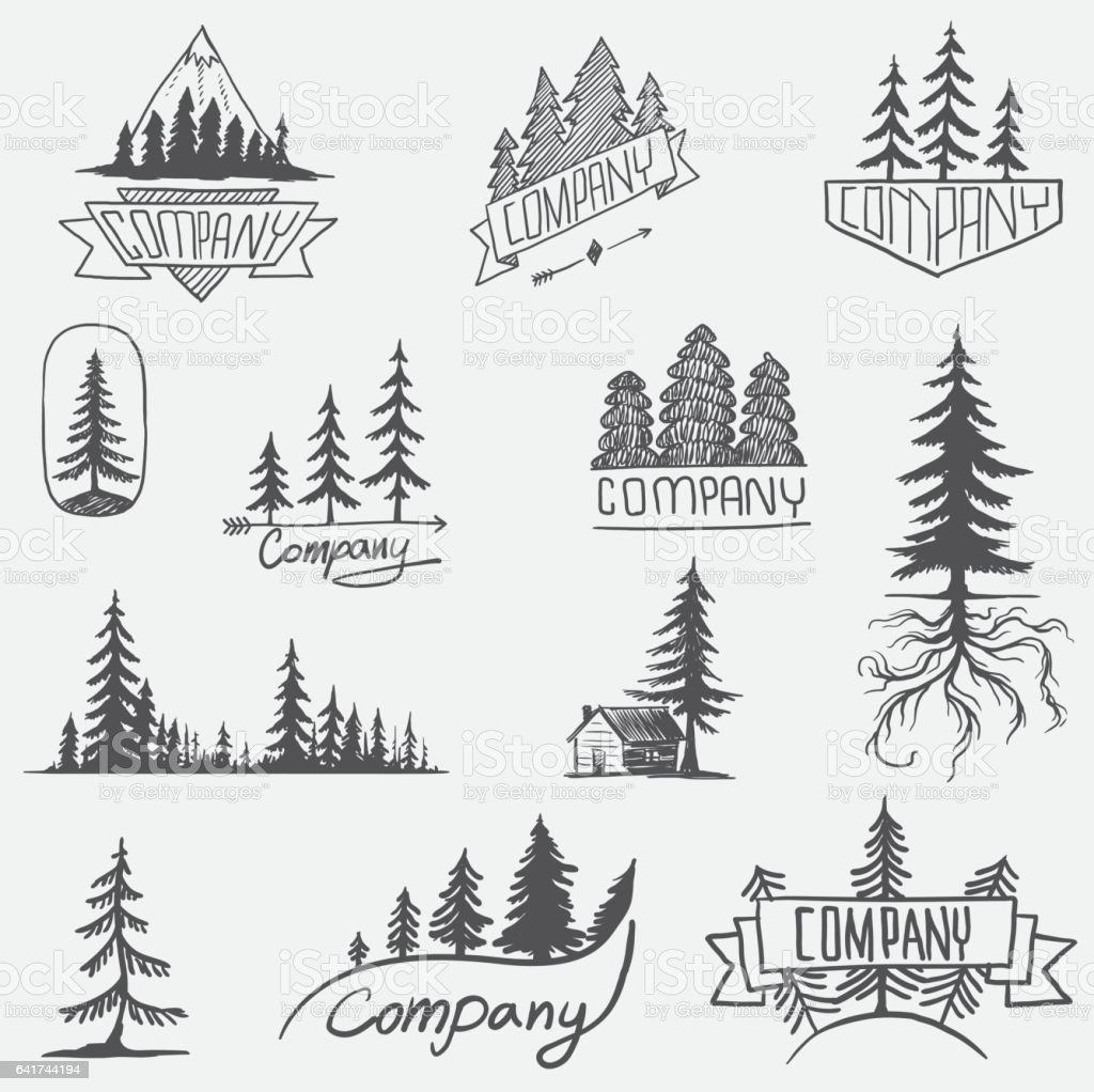 Forest badge tree vector set isolated vector art illustration