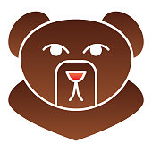 Forest bear head flat icon. Wild animal, grizzly face, simple silhouette. Animals vector design concept, gradient style pictogram on white background, graphic for web or app