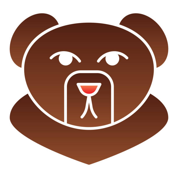 Forest bear head flat icon. Wild animal, grizzly face, simple silhouette. Animals vector design concept, gradient style pictogram on white background, graphic for web or app. Forest bear head flat icon. Wild animal, grizzly face, simple silhouette. Animals vector design concept, gradient style pictogram on white background, graphic for web or app giant fictional character stock illustrations