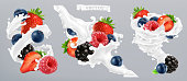 Forest berry and milk splash. Fruit and yogurt. 3d realistic vector icon