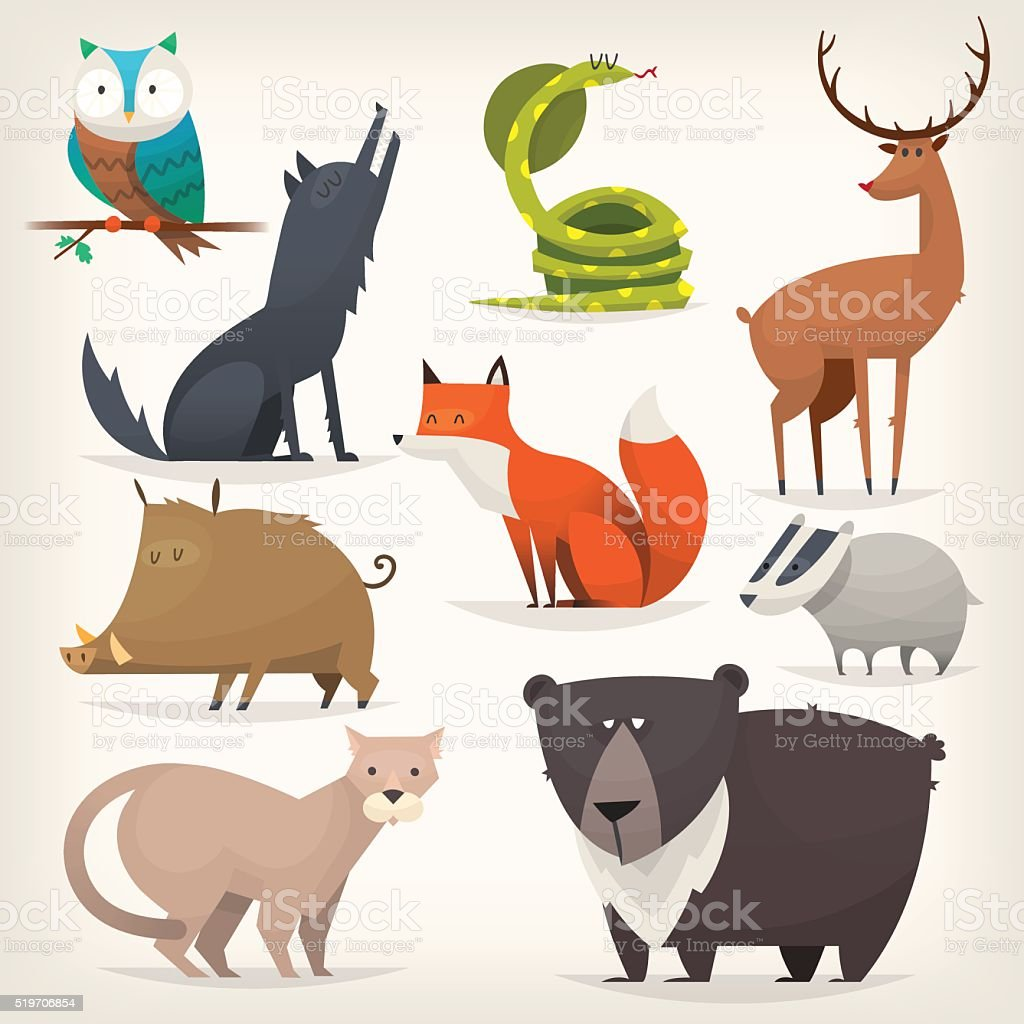Bosque aves y animales - ilustración de arte vectorial