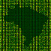 Forest Brazil Map Binary Numbers Vector Pattern