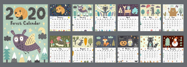 forest calendar for 2020 year. printable planner of 12 months - animals calendar stock illustrations