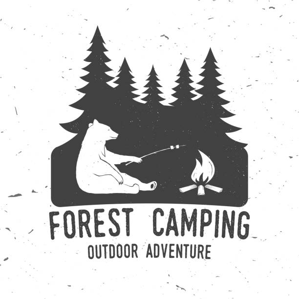 forest camping extreme adventure . vector illustration - wildlife travel stock illustrations, clip art, cartoons, & icons