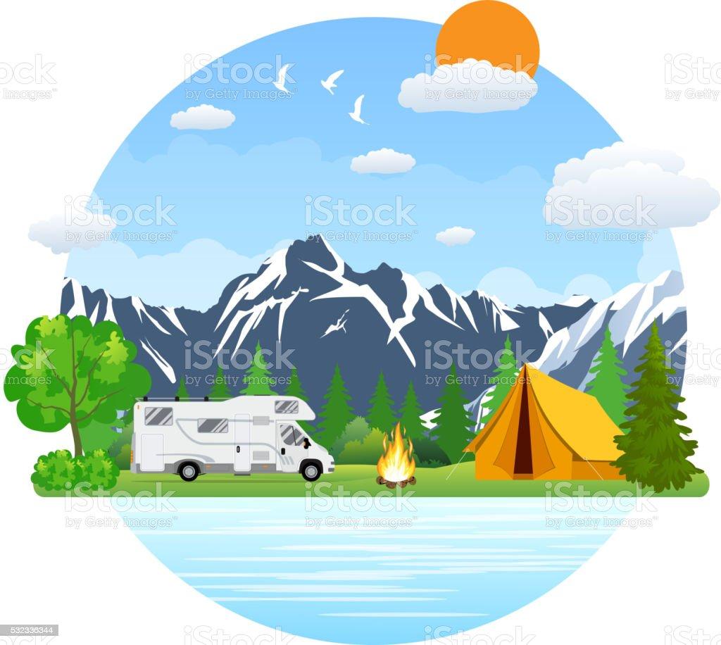 Forest camping landscape with rv traveler bus in flat design. vector art illustration