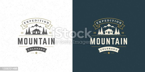 Forest camping logo emblem vector summer camping illustration mountains with cabin and pine trees silhouettes for shirt or print stamp. Vintage typography badge design.