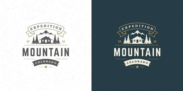 Forest camping logo emblem vector summer camping illustration mountains with cabin and pine trees silhouettes