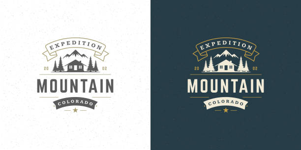 Forest camping logo emblem vector summer camping illustration mountains with cabin and pine trees silhouettes Forest camping logo emblem vector summer camping illustration mountains with cabin and pine trees silhouettes for shirt or print stamp. Vintage typography badge design. wilderness stock illustrations