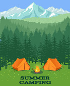 Forest camping vector illustration. Tourist tent on glade. Adventure and rest in summer wood