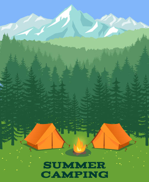 Forest camping vector illustration. Tourist tent on glade vector art illustration